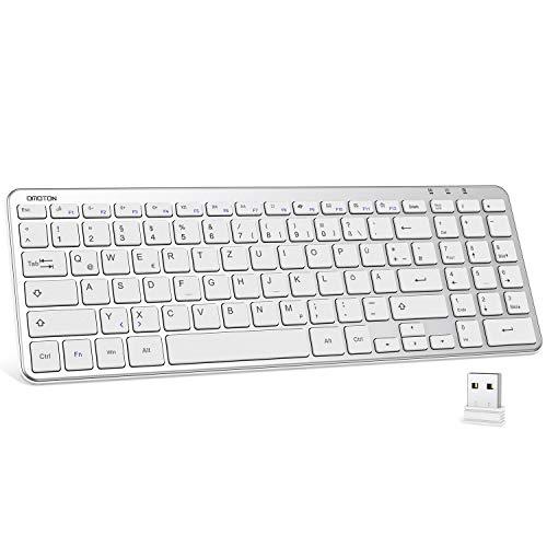 OMOTON 2.4G Tastatur Kabellos mit Ziffernblock, deutsches Layout kompatibel mit Windows 10/8/7/Vista/XP, Wireless Tastatur mit USB-Empfänger, für Computer, PCs, Laptops, Notebooks, Tablets, Silber