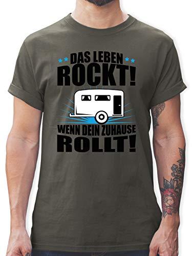 Hobby - Das Leben rockt! Wohnwagen schwarz - L - Dunkelgrau - Geschenk - L190 - Tshirt Herren und Männer T-Shirts