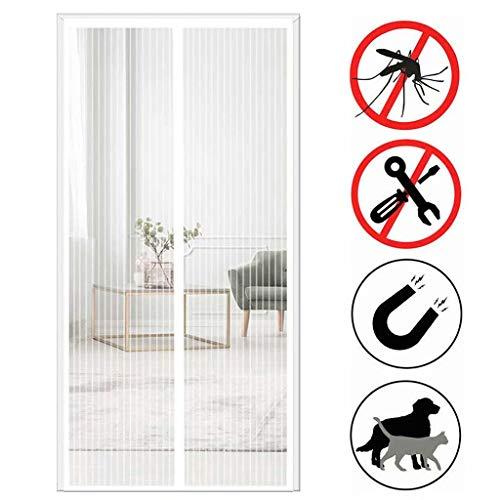 Aiyaoo Fliegengitter Tür Nach Maß 140x195cm Hochwertiges Netz Automatisches Schließen Baby und Haustierfreundlich Mehrere Größen für FliegengitterTür Tür Plissee - Weiß