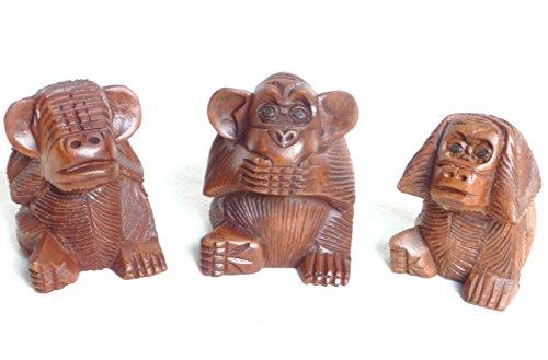 Les 3 singes holzfigur holzskulptur en bois sculpté main env. 10 cm by Asia Design