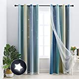 Chuan Jiang M Room Darkening Blackout Curtains with Grommets Kids Lace Drapes Star Double Layer Window Panels with Tie Backs Bedroom Living Room(1 Piece 52W x 84L,Beige Blue)