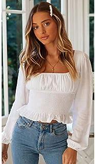 تي شيرت Square Collar Ruffled Lantern Long Sleeve Waist Chiffon Shirt Top تي شيرت (Color : White, Size : L)