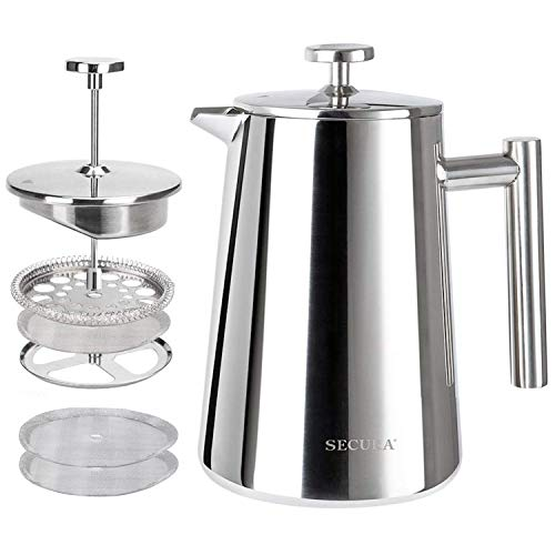 Enjoy a Large French 50 oz French Press Coffee Maker 1500ML with Double-Wall