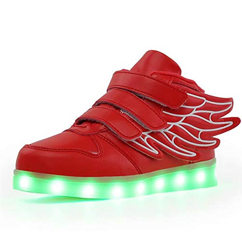 KARKEIN LED Light Up Hi-Top Wings Shoes USB Rechargeable Flashing Sneakers for Toddlers Kids Boys Girls Red 13 Little Kid