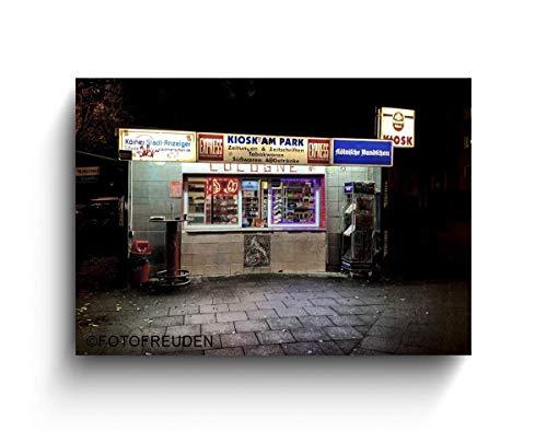 Büdchen bei Nacht, Köln Fotos auf Holz, Holzbild, Handmade