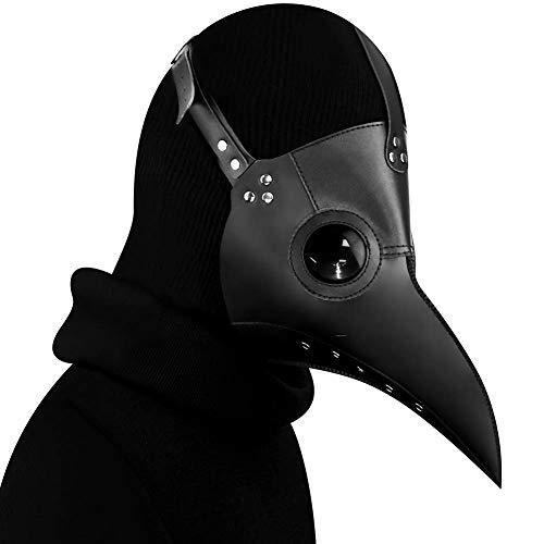 DM201605 Pestdoktor-Maske Vogel Lange Nase Schnabel Kunstleder Steampunk Halloween-Kostüm Schwarz, Schwarz , Standard