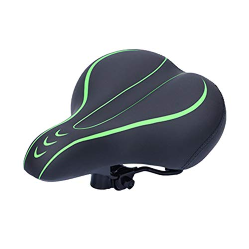 Wakauto Bike Seat, Most Comfortable Bicycle Seat Memory Foam Waterproof Bicycle Saddle - Dual Shock Absorbing - Best Stock Bicycle Seat Replacement for Mountain Bikes, Road Bikes(Black Green)