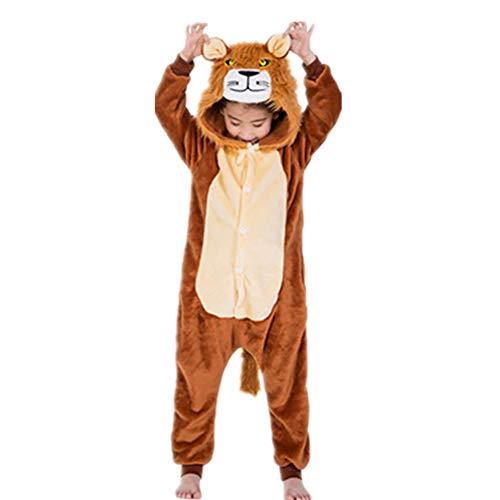 Tickos Unisexe Enfants Animal Onesies Marrant Lion Pyjamas Pajamas Combinaisons Déguisements Halloween (Lion, 110CM)
