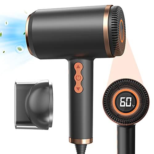 Secador Pelo Profesional,Secador Iónico Negative con Pantalla LED,Ajuste Continuamente la Temperatura y la Velocidad del Viento,Con 1 Boquilla de Succión Magnética,Ideal Para Viajes y Uso Familiar
