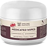 Advanced+ Medicated Antibacterial & Antifungal Wipe For Dogs & Cats – Contains Ketoconazole & Chlorhexidine - Dog Skin Yeast Infection Treatment - For Ringworm, Pyoderma, Bacteria & Fungus. 50 pads