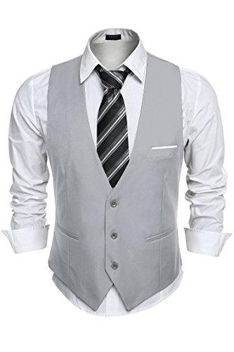 Burlady Anzugweste Herren V-Ausschnitt Ärmellose Westen Slim Fit Smoking Sakko Herrenweste Herrenanzug Anzug Business Hochzeit