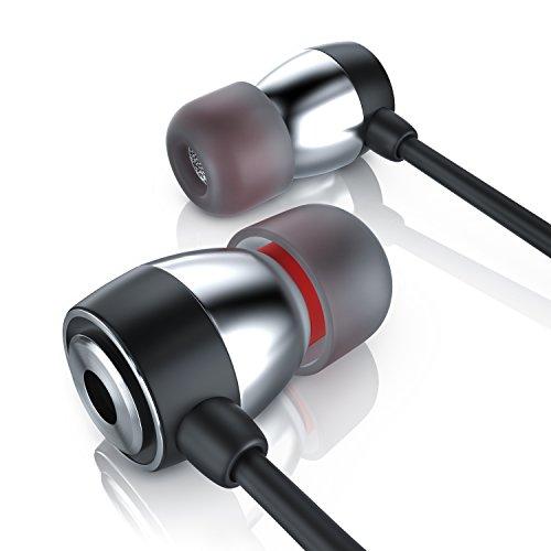 HiFi In Ear Kopfhörer Stereo Earphone Wired - widerstandsfähiges Aramid Kabel - optimierte Soundtreiber - 10mm Schallwandler - Knickschutz - Leichter Alu Inear Hörer
