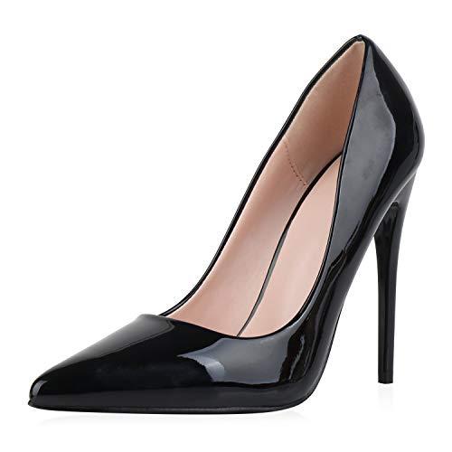 SCARPE VITA Damen Pumps High Heels Elegante Lack Schuhe Stiletto Absatzschuhe Spitze Partyschuhe 186256 Schwarz 38