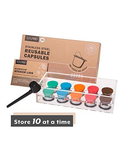 Sealpod Wiederverwendbare Kapseln, nachfüllbar, kompatibel mit Nespresso Original Line Maschine, langlebiger Edelstahl, mit frischen Abdeckungen 10 Kapseln, 100 Deckel.