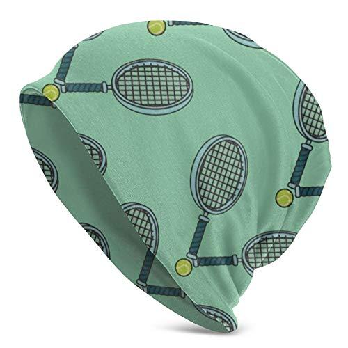 QUEMIN Pelota de Tenis y Raqueta Slouchy Beanie Hat Gorras Invierno Soft Stretchy Knit Skull Cap para Mujeres Hombres