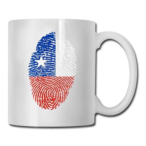 Taza con huellas dactilares de Chile, taza de café para bebidas calientes, taza de gres, taza de café de cerámica, taza de té de 11 onzas, divertida taza de regalo para té y café