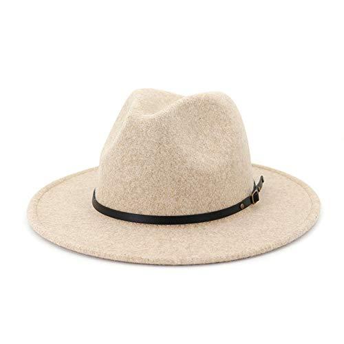 Lisianthus Womens Classic Wool Fedora with Belt Buckle Wide Brim Panama Hat B-Beige