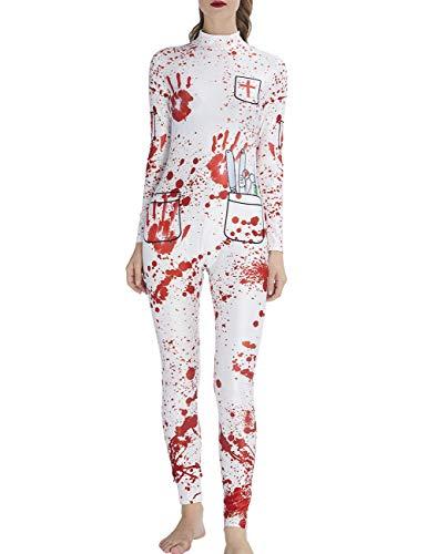 AIDEAONE Halloween Kostüm Frauen Knochen Catsuit Jumpsuit Langarm Knochen Skeleton High Neck Catsuit M