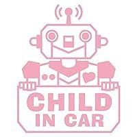 imoninn CHILD in car ステッカー 【シンプル版】 No.50 ロボットさん (ピンク色)