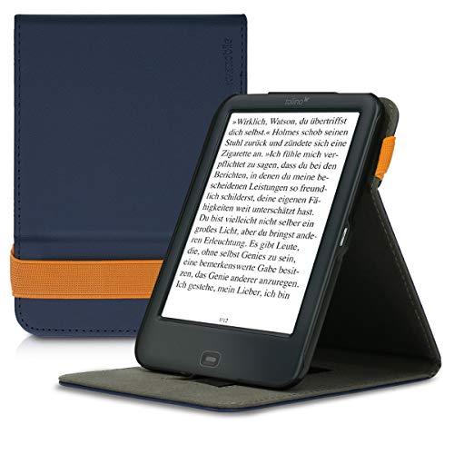 kwmobile Schutzhülle kompatibel mit Tolino Shine 2 HD - Hülle e-Reader mit Schlaufe Ständer - - Dunkelblau