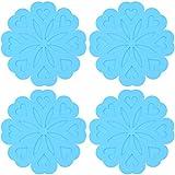 Opplei - Juego de 4 almohadillas térmicas de silicona, resistentes al calor, aislantes, flexibles, resistentes al calor, color azul