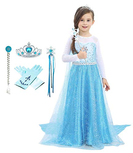 Bestier Girls Princess Dress Costume - Birthday Party Dress Up for Toddler Girl (Blue, 3-4Years)