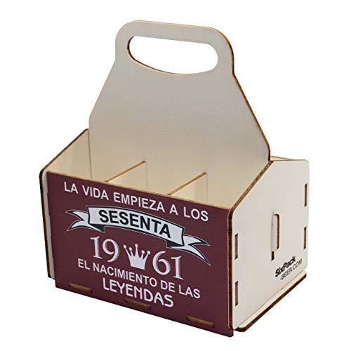 Portacervezas de madera, paquete de seis cervezas, caja portadora de seis, portacervezas de seis, regalo cerveza, cumpleaños 60 años, regalo 60 años, de madera, 60 cumpleaños, cumpleaños hombre, 1961
