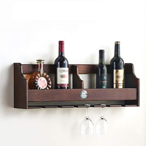ASDFY Estante de Madera para Vino montado en la Pared, Estante de exhibición rústico para Vino, con Capacidad para Seis Botellas, Seis Tazas, Estante para Vino Colgante, decoración de Barra de Cocina