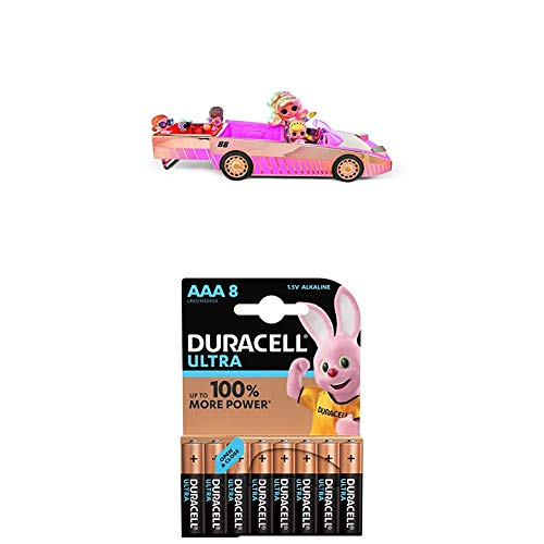 L.O.L. Surprise! 565222E7C Car-Pool Coupe Puppenauto mit Schwarzlichteffekt & Sound, inklusiv Puppe + Duracell Ultra AAA Micro Alkaline Batterien LR03, 8er Pack