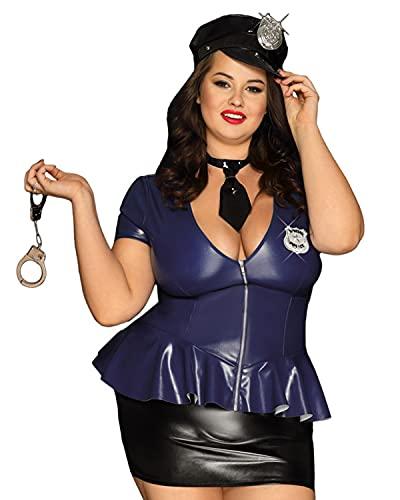 GWQDJ Conjunto De Disfraz De Oficial De Policía Sexy De 6Piezas para Mujer, Uniforme De Policía De Halloween para Adultos, Traje De Cosplay, Mono De Charol