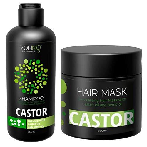Rizinusöl Shampoo & Maske Set Mit Natürlich Rizinusöl und Arganöl Reine Totes Meer Mineralien Verhindern Haarausfall Beschleunigen das Haarwachstumuu Für Frauen
