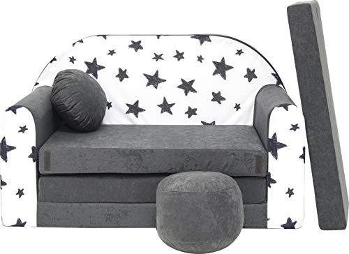 Pro Cosmo Kindersofa Bettfunktion 3in1 Sofa + Gratis Polsterhocker und Kissen Kindermöbel Set - AC1 Grau Sterne 168 x 98 x 59cm