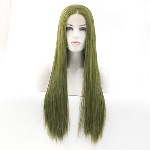 Wig Long Straight Hair Girl Middle Can Be Ironed Head Set Wig 24 inches Green
