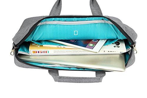 KROSER Laptop Tasche 15.6 Zoll Notebooktasche Aktentasche Tablet Tasche Schulter Umhängetasche Wasserabweisend Satchel Bussiness Laptoptasche für Frauen und Männer-Grau MEHRWEG
