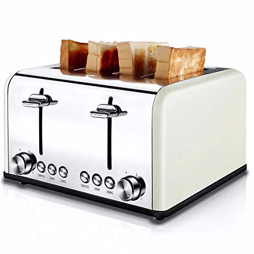 Toaster 4 Slice, CUSIBOX Extra Wide Slots Toaster with BAGEL/DEFROST/CANCEL Function, Stainless Steel Four Slice Bread Bagel Toaster, 1650W, Cream