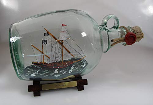 Piratenschiff weiße Segel 1,5 Liter Buddelschiff Flaschenschiff