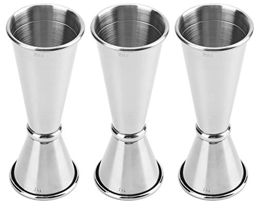 Yesland 3 Pcs Double Cocktail Jigger  Japanese Style Stainless Steel Bar Measuring Jigger 05 Oz to 2 Oz Silver Alcohol Measuring Tools475 Inches