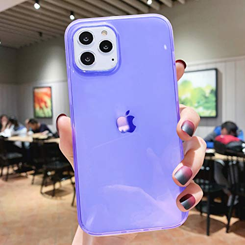 iPhone 11 Pro Max Case for Women,[Matte Shock-Absorption Bumper Edge] Silicone TPU Soft Gel Phone Cover for Apple iPhone 11 Pro Max 6.5' (2019) - Clear Purple