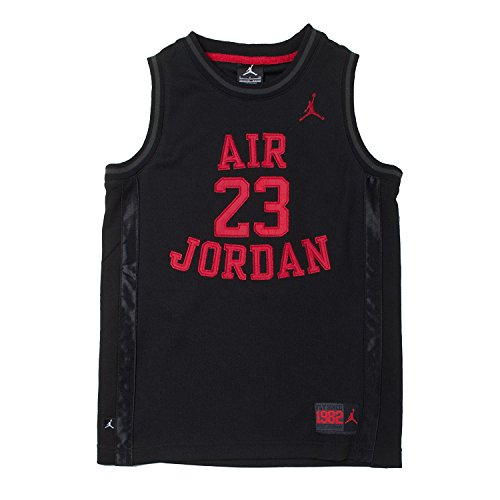 Nike Jordan Boy's Youth Classic Mesh Jersey Shirt (Black/Red, Small)
