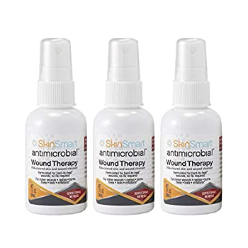 SkinSmart Antimicrobial Wound Therapy Hypochlorous Acid Safely Removes Bacteria so Wounds Can Heal Travel Size 2 Ounce Spray  Pack of 3
