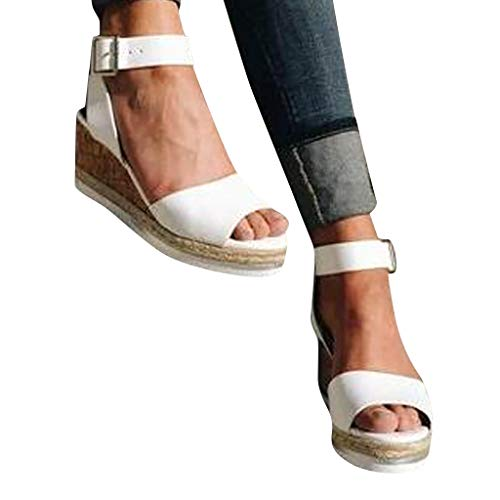 Cenglings Wedges Shoes,Womens Open Toe One Band Ankle Strap Platform Sandals Buckle Espadrilles Ladies Roman Sandals White