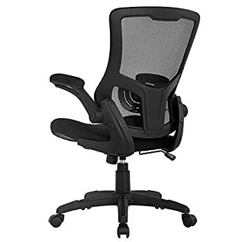 Home Office Chair Mesh Desk Chair Computer Chair with Lumbar Support Flip Up Arms Ergonomic Chair Adjustable Swivel Rolling Executive Mid Back Task Chair for Women Adults Black