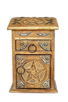 Village Handwork Wooden Jewelry Box with Drawers for Women | Vertical Handcrafted Wooden Urn for Jewel | Home Decor Accents | 3 layer Decorative Box 8.5 x5.5 x4.5  for Cosmetic Makeup Jewel Trinket Keepsakes | Storage & Organizer | Mother s Day