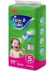 Fine Baby Fast Sorption, Size 5, Maxi, 11-18 kg, Jumbo Pack, 44 Diapers