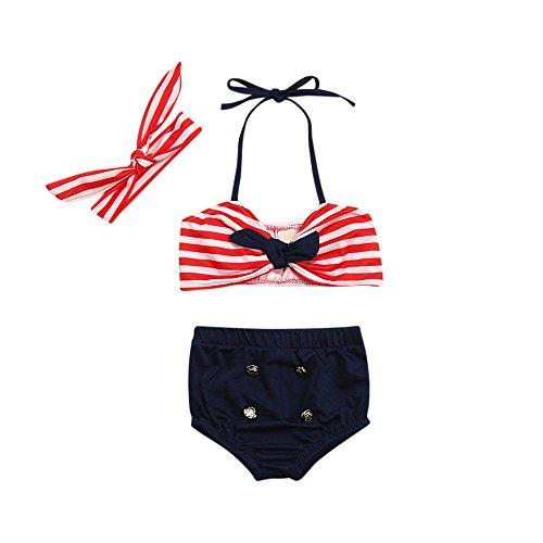 Logobeing Bañador Bebé Niña de Verano Traje de Baño Dos Piezas de Correas para Chicas Tops Pantalones Cortos Diademas Venda 3Pcs Conjunto De Bikini BañAdores 3-24 Mes (6-12Mes, Rojo)
