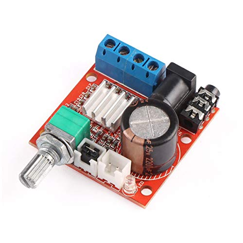 ARCELI Tablero del Amplificador de 12 voltios, PAM8610 Mini AMP estéreo 10W + 10W Clase D Amplificador de Audio Digital 12V DC Amplificador portátil de Baja Potencia Amplificador de Doble Canal DIY