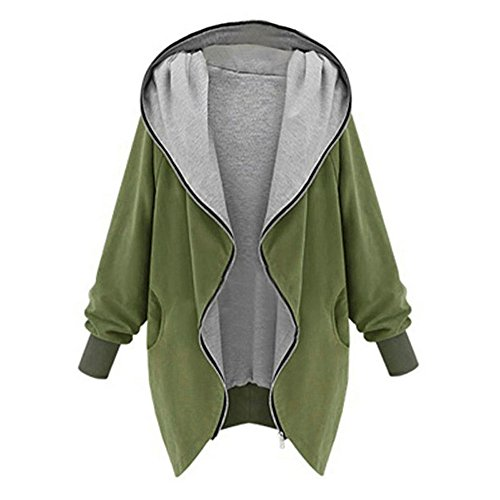 OIKAY Mantel Windbreaker Sweatshirt Damen Zipper Hoodie Kapuzen Jacke Parka Trench Tops