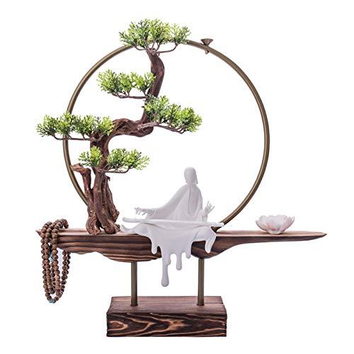 Vegetación y plantas artificiales Plantas falsas Artificial Zen Bonsai Tree Backflow Incienso quemador de incienso Escultura de cerámica para la oficina en casa Decoración interior, Tamaño: 17.7 x 17.