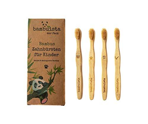 4er Junior Set nachhaltige Bambus-Zahnbürsten für Kinder & Kleinkinder - 3-12 Jahre alt - Weiche Borsten - Kleiner Bürsten-kopf - Vegan, Ökologisch, Natürlich, Baumfrei & BPA frei - bambuista