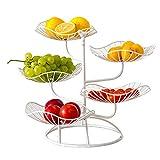 QUUY Obstkörbe Obst Etagere Metall Obstständer 5 Stöckig Hohles Obstschalen Exquisiter Lotusblattförmiger Obstkorbhalter Tortenständer Dekorativer Obstkorb Für Arbeitsplatte Gemüse, Snacks (Weiß)